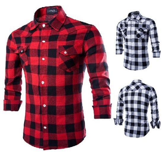Plaid Shirts for Men dress shirts for men mens shirt new mens slim fit casual and dress plaid HXJDQCW