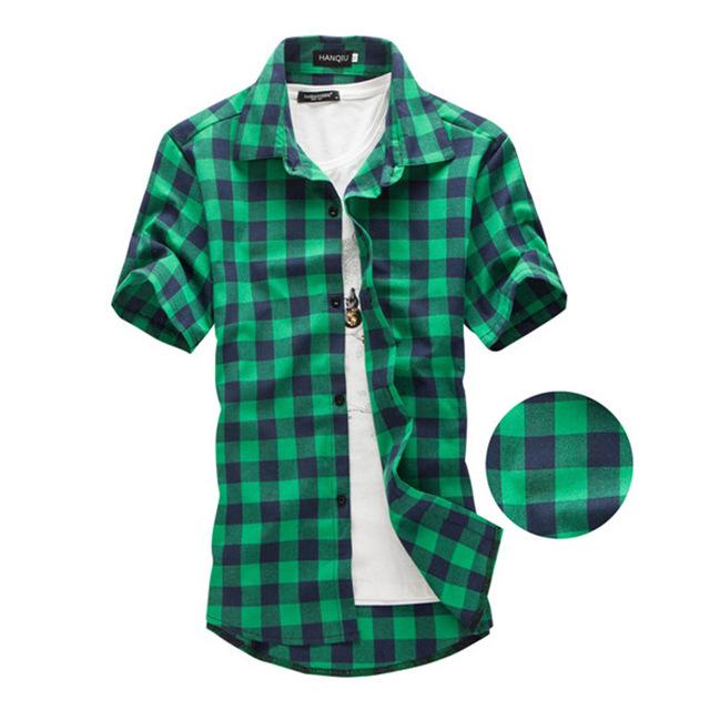 Plaid Shirts for Men navy and green plaid shirts men 2017 new arrival summer menu0027s casual short  sleeve JLNBSMN