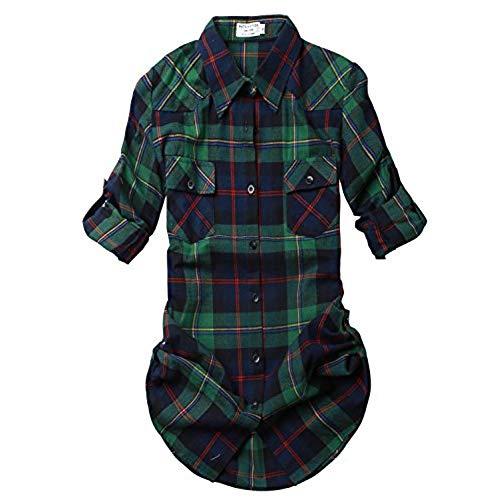 plaid shirts match womenu0027s long sleeve plaid flannel shirt #2021(medium, checks#2) TCVDJXS