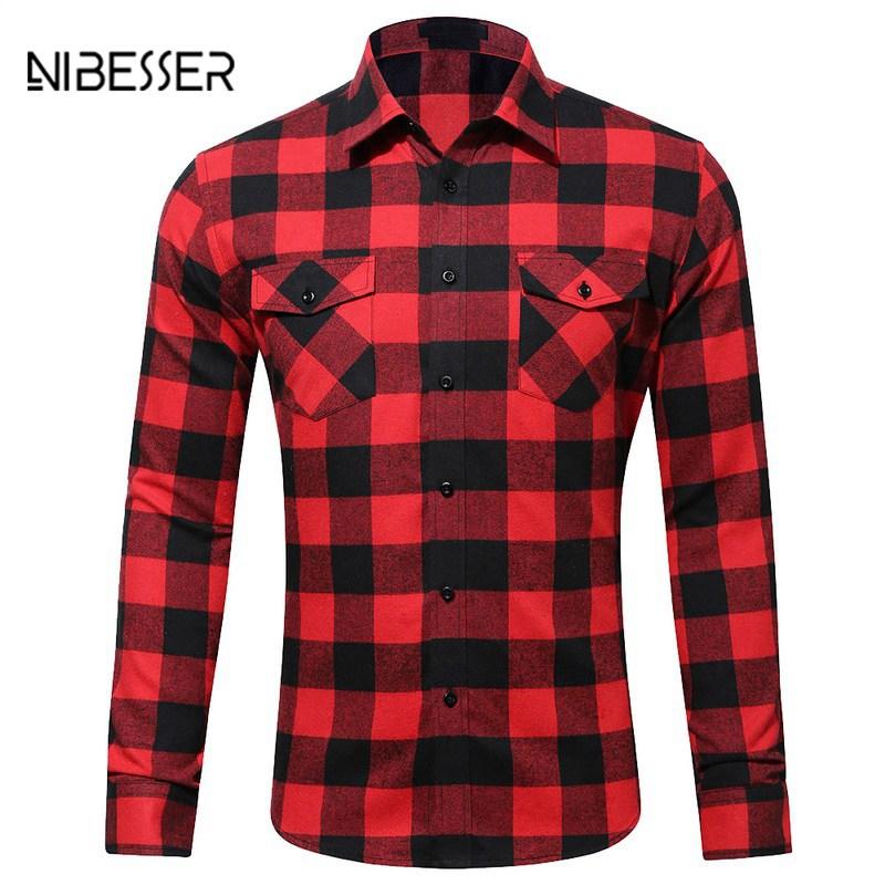 plaid shirts nibesser cotton menu0027s shirts flannel plaid ... SIYSOIJ