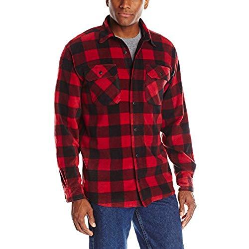 plaid shirts wrangler authentics menu0027s long sleeve plaid fleece shirt jacket, red  buffalo plaid, large QTANBIV