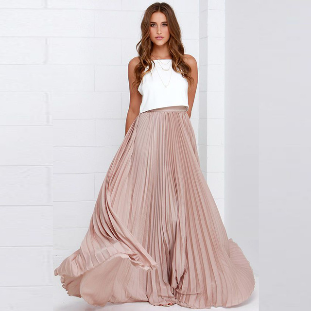 pleated maxi skirt custom made long pleated skirt satin zipper waist a line floor length maxi  skirt ACZDQVU