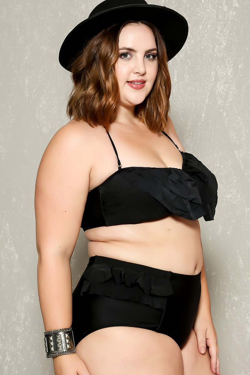 Plus size bikinis sexy black ruffle accent padded high waist two piece plus size bikini WXXCSQP