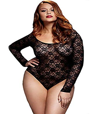 Plus Size Bodysuit baci lingerie womenu0027s plus-size lace bodysuit cutout 1 piece, black, queen NYILBGO