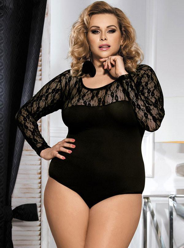 Plus Size Bodysuit black lace panel long sleeve plus size bodysuit MOZYUPU