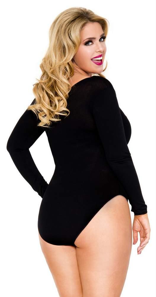 Plus Size Bodysuit ... womenu0027s plus size black long sleeved bodysuit CZHYDSS