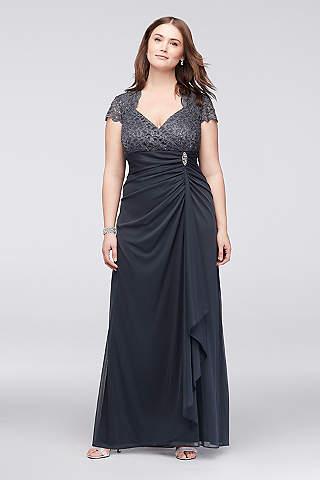 plus size dresses long sheath cap sleeves formal dresses dress - betsy and adam WEJXAID
