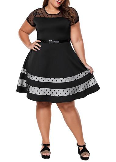 plus size dresses plus size black short sleeve mesh panel dress TEYFGUU
