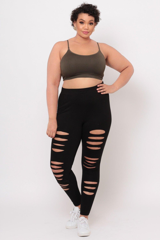 plus size leggings ... plus size distressed leggings - black OHUOZJS