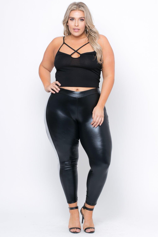 plus size leggings ... plus size metallic faux leather leggings - black MDPMQUA