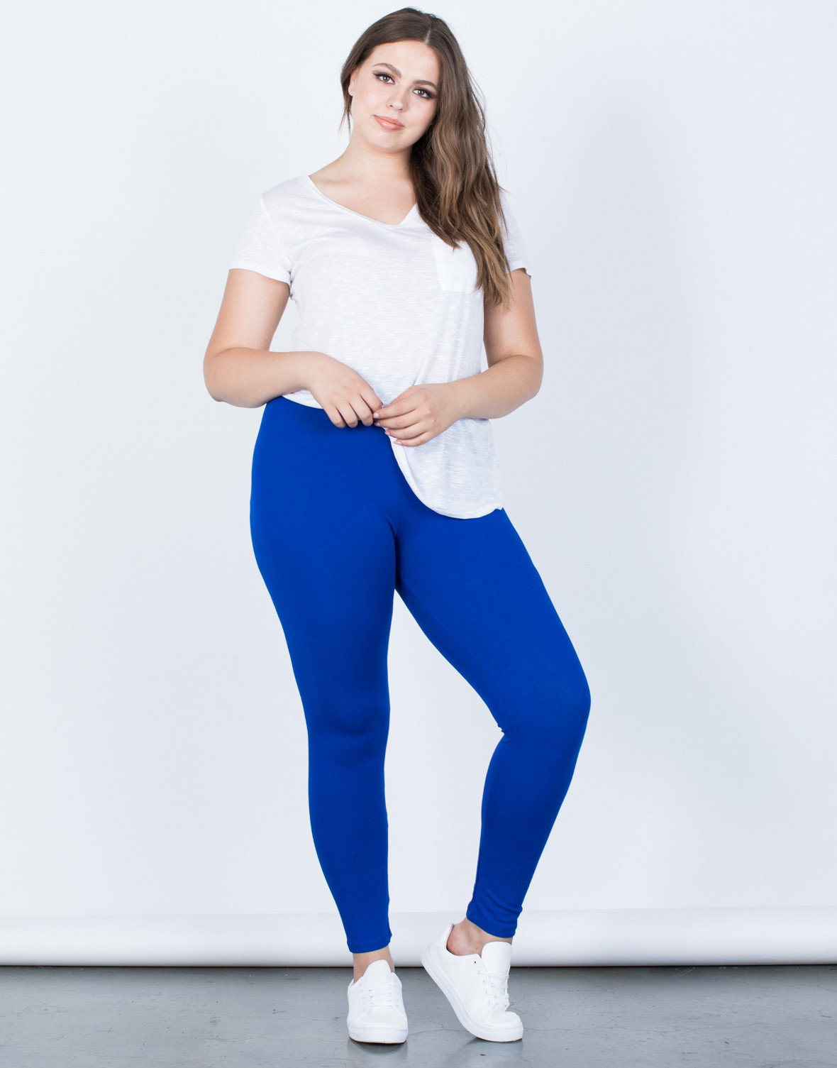 plus size leggings ... royal blue plus size on the go leggings - front view ... XOCGHGK