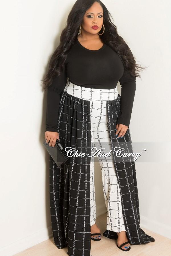 plus size palazzo pants 35% off sale - final sale plus size palazzo skirt pants in black and white OASGGTL