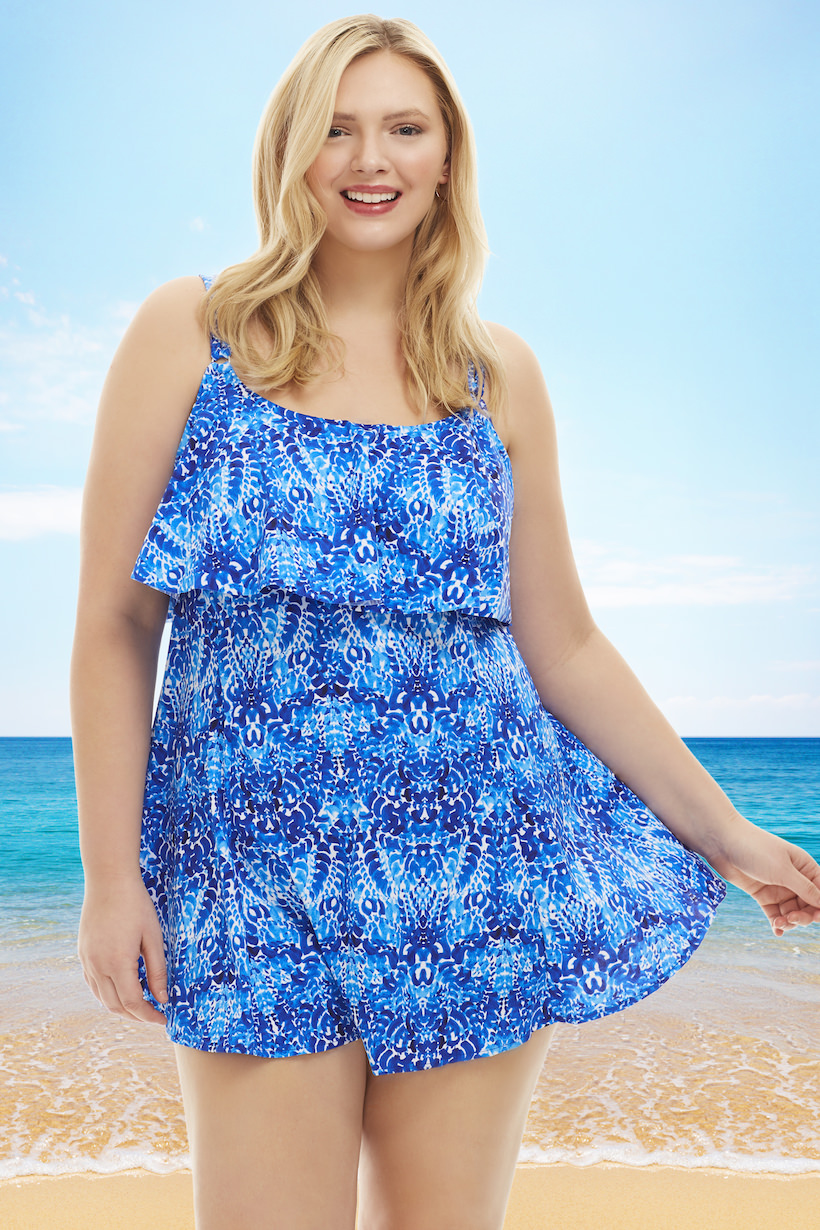 Plus Size Swim Dress plus size single tier swimdress in blue - penbrooke | always for me HLAKBOA
