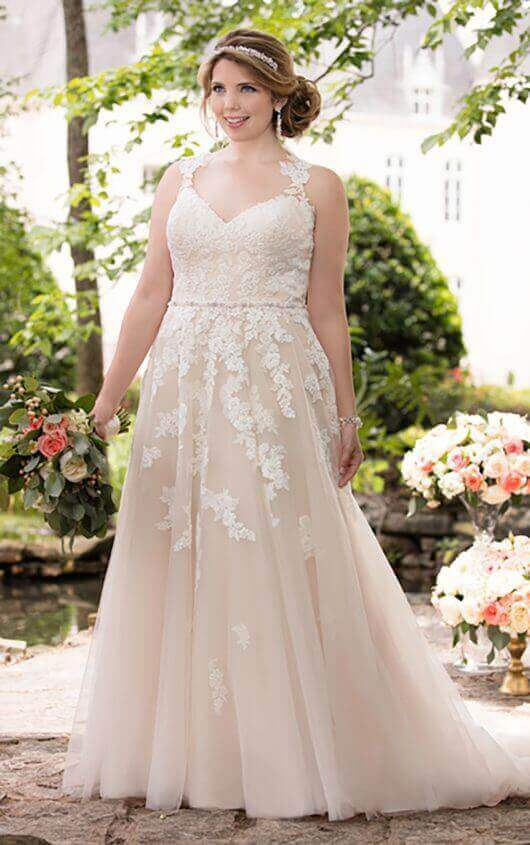 Plus Size Wedding Dress 6144+ plus size wedding dress with lace illusion back by stella york GQOYOFZ