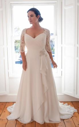 Plus Size Wedding Dress a-line long v-neck half sleeve chiffon brush train draping dress ... JUNALGZ