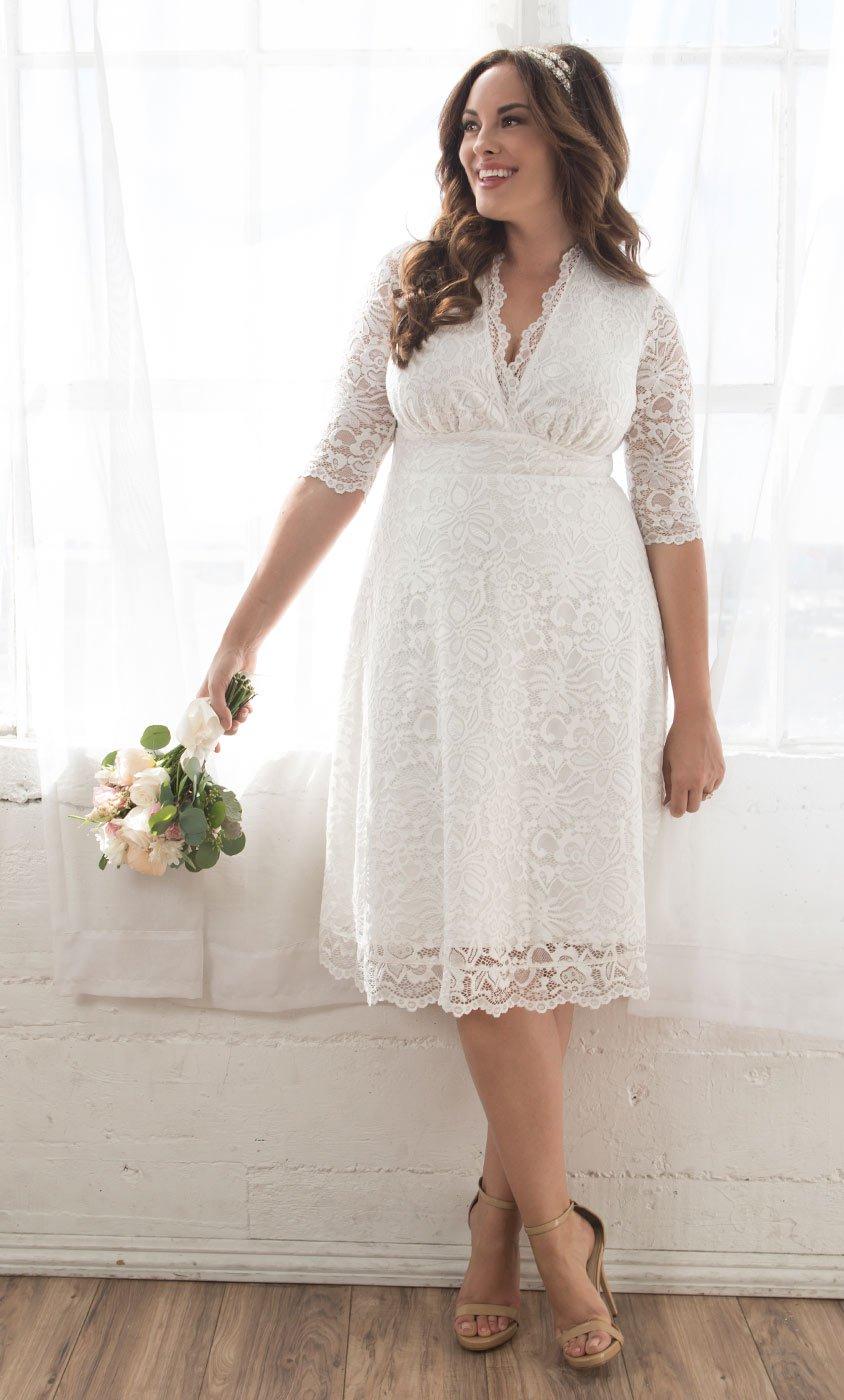 Plus Size Wedding Dress elegant plus size wedding dress | white knee length wedding dress SYMQLXE