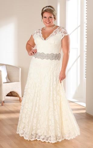 Plus Size Wedding Dress plunged cap-sleeve lace plus size wedding dress with jeweled waist ... VEKPVHU