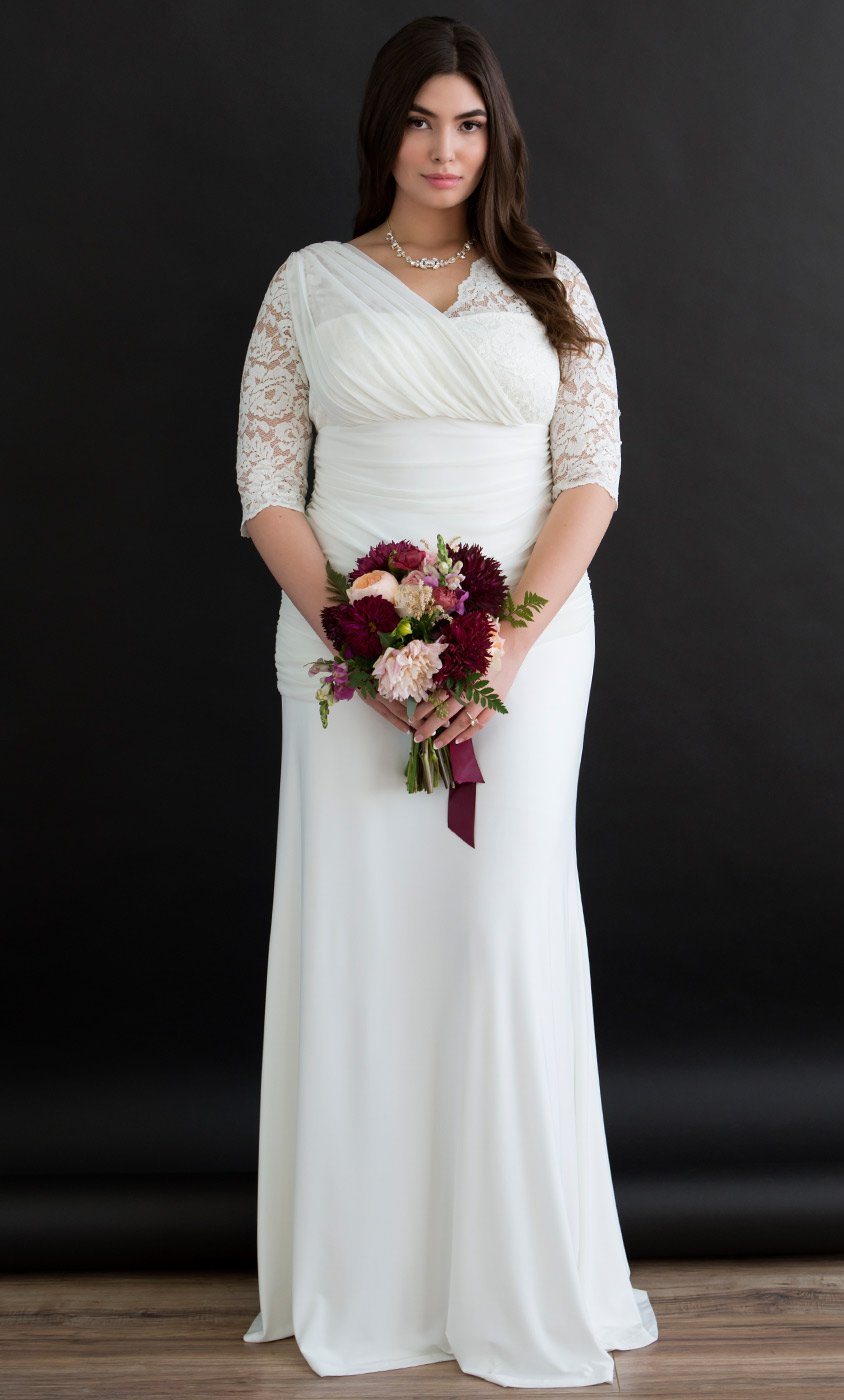 Plus Size Wedding Dress plus size lace wedding gown | half sleeve wedding gown GRCFOKF