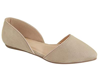 Pointed Toe Flats breckelleu0027s womens faux leather du0027orsay pointed toe ballet flats  rissa,taupe,5.5 AEGZGTI