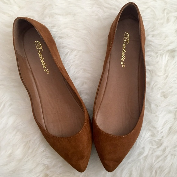 Pointed Toe Flats breckelles cognac brown suede pointed toe flats CQDUBSX