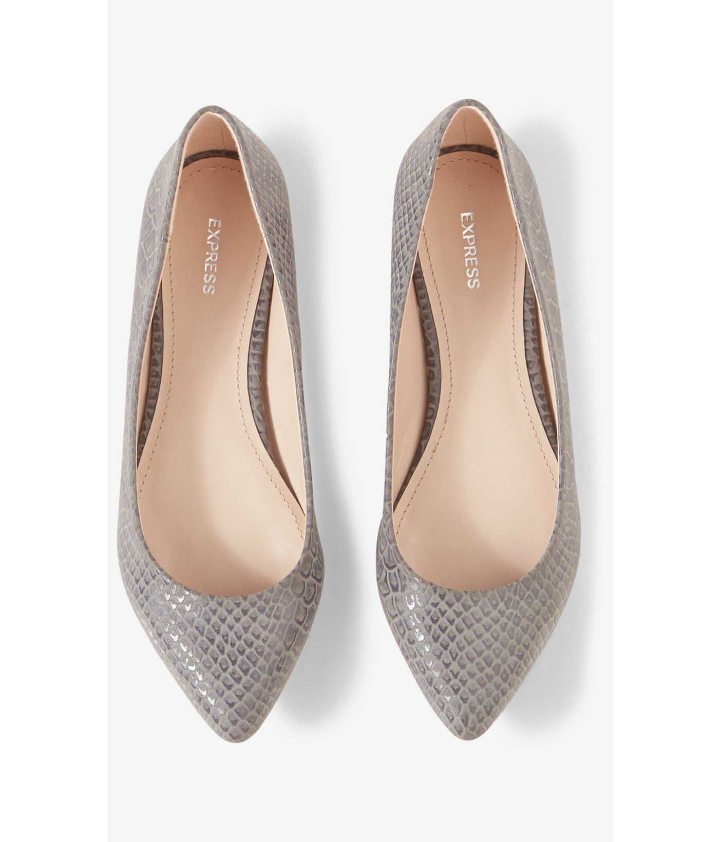 Pointed Toe Flats lyst - express snakeskin print pointed toe flat in metallic JOVHRLR