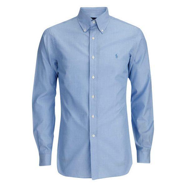 Polo Dress Shirts polo ralph lauren menu0027s tonal logo dress shirt - blue (3.660 rub) ❤ liked WAHLISM