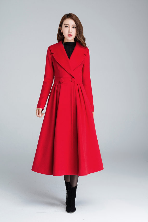 princess coat long jacket red coat pleated coat elegant MMVCPNJ