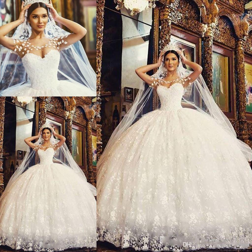 Princess Wedding Dresses 2017 arabic lace ball gown princess wedding dresses scoop sheer neck floor  length appliques WIUHEPZ
