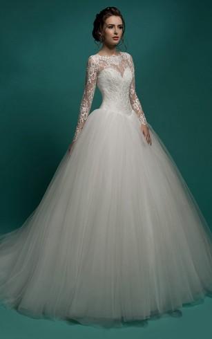 Princess Wedding Dresses a-line maxi jewel-neck illusion-sleeve zipper tulle dress with pleatings ... ZYXFJHE