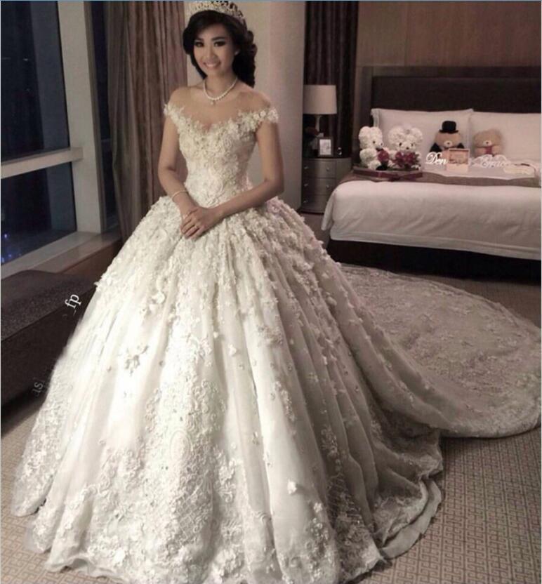 Princess Wedding Dresses princess 2018 full lace wedding dresses sheer jewel neck cap sleeves zip  back long JHBZKXU