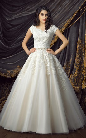 Princess Wedding Dresses royal short sleeve ball gown wedding dresses ... OJKMQGR
