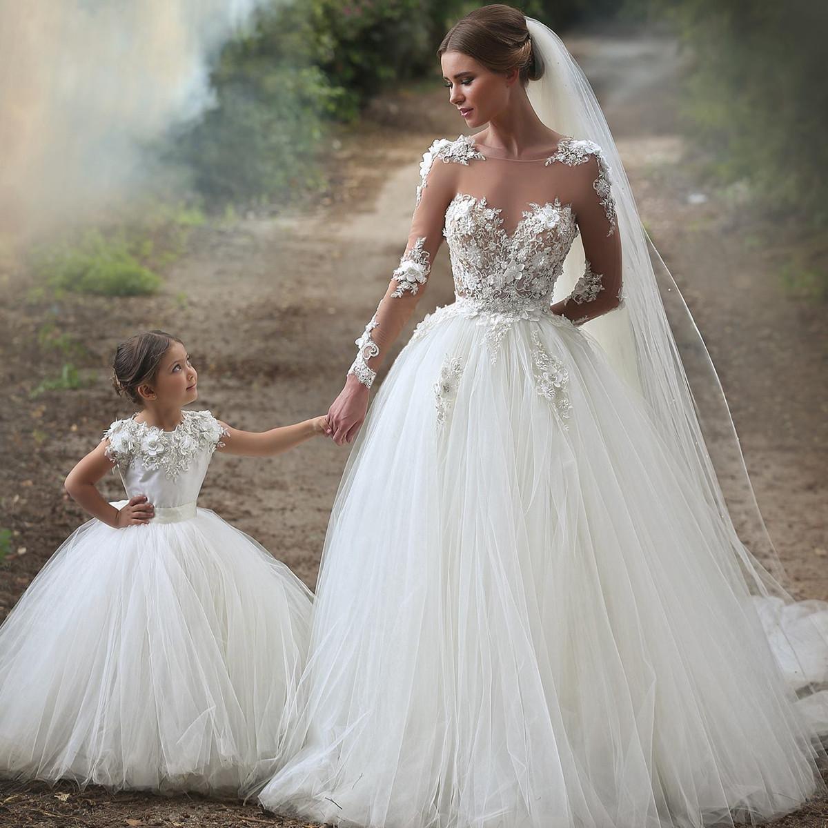 Princess Wedding Dresses sheer long sleeves tulle princess wedding dresses 2017 romantic bridal gowns ARZOQTQ