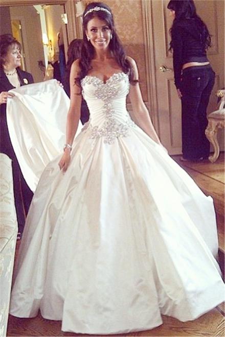Princess Wedding Dresses sweetheart ball gown plus size wedding dresses crystals beads chapel train princess  wedding gowns DXVANJM