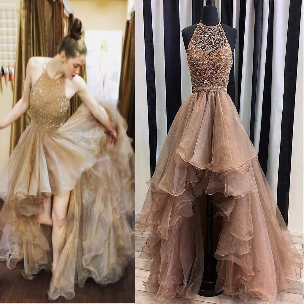 Promdress 2019 halter top illusion rhinestone beaded hi-low tulle prom dresses, most  popular long prom TKTHZPA