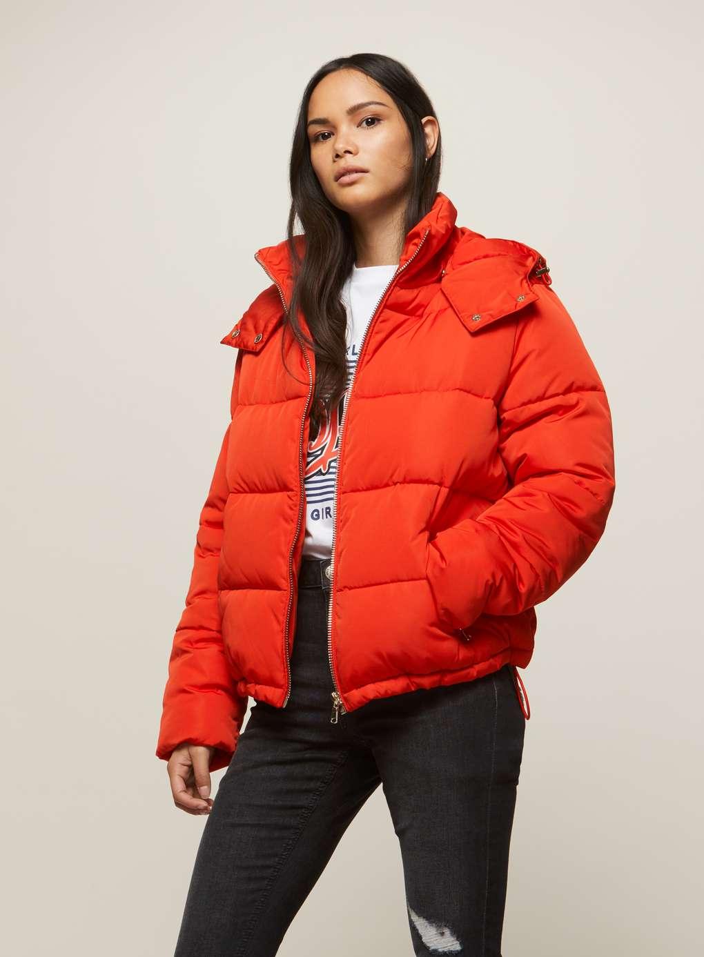 Puffer Coat red oversized hooded puffer jacket | missselfridge QGQJNIE