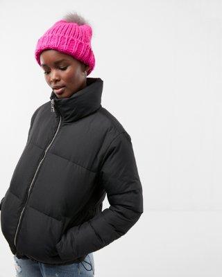 Puffer Coat zip front short puffer coat | express CRHUNOZ