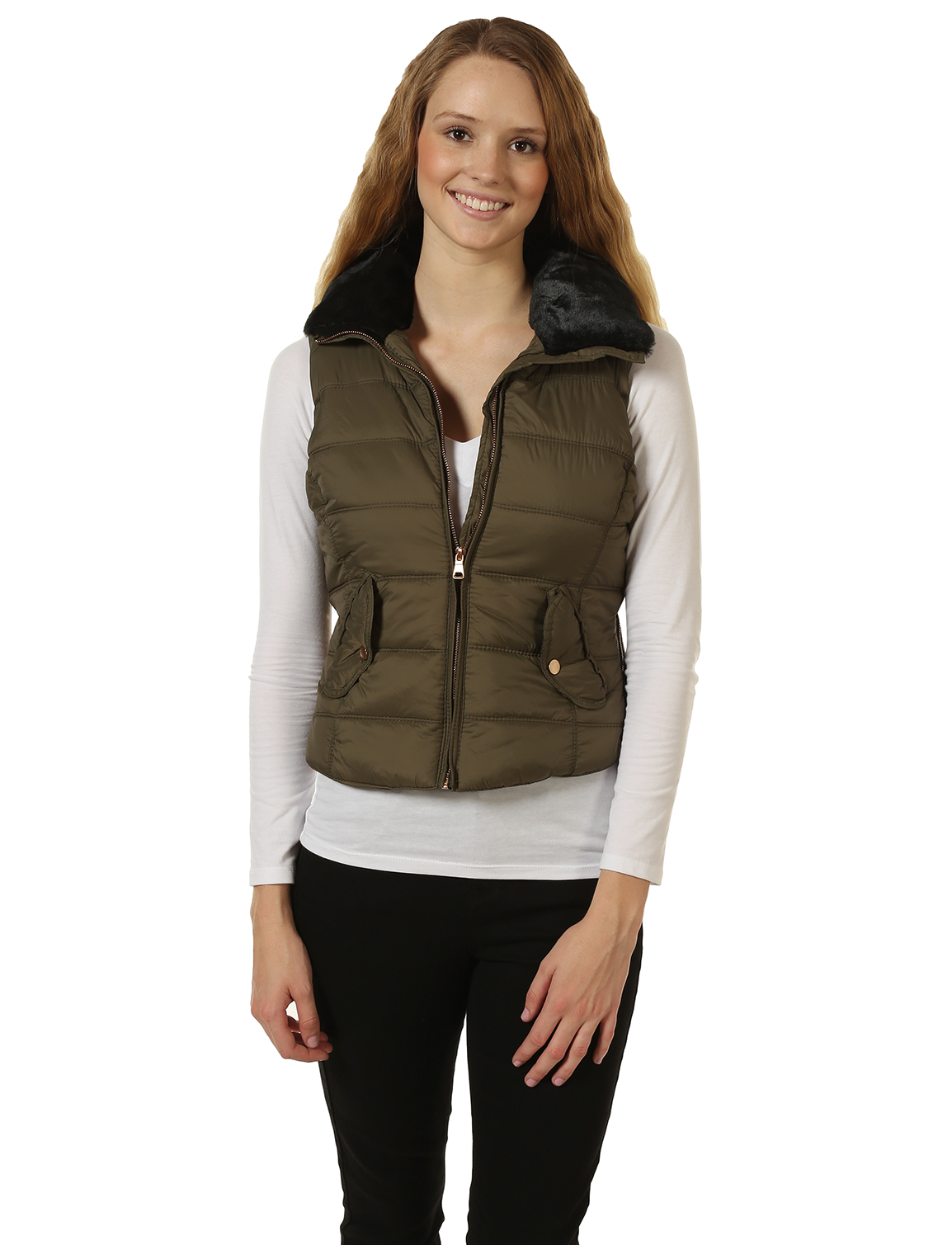 Puffy Vest ... 7encounter womenu0027s faux fur trim quilted puffy vest olive ... XDJKVFF