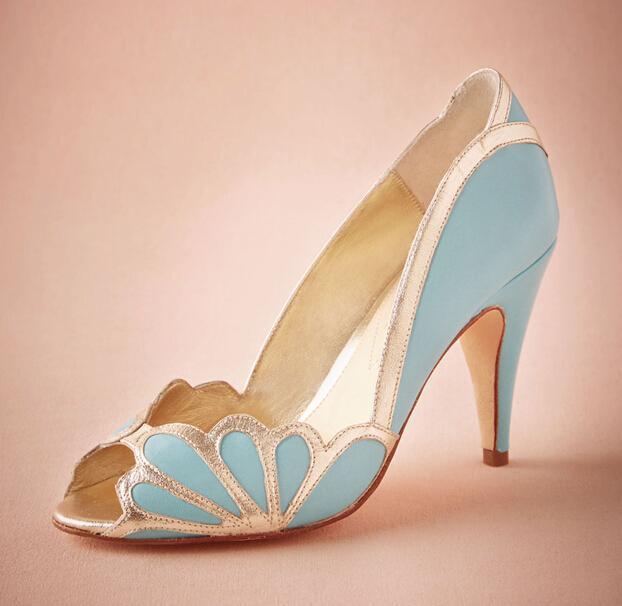 real blue wedding shoes 2016 vintage bridal isabella scalloped heel kitten  pu peep toe YKPDQXP