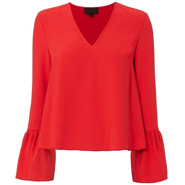 Red Blouse intermix womenu0027s katie bell sleeve blouse found on polyvore featuring tops,  blouses, shirts, long QZDLEWC
