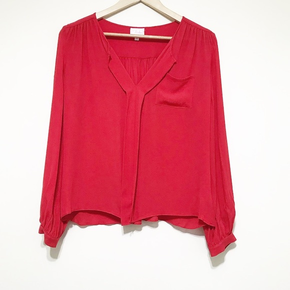Red Blouse red red red. xs. silk blouse. IHQOBLM