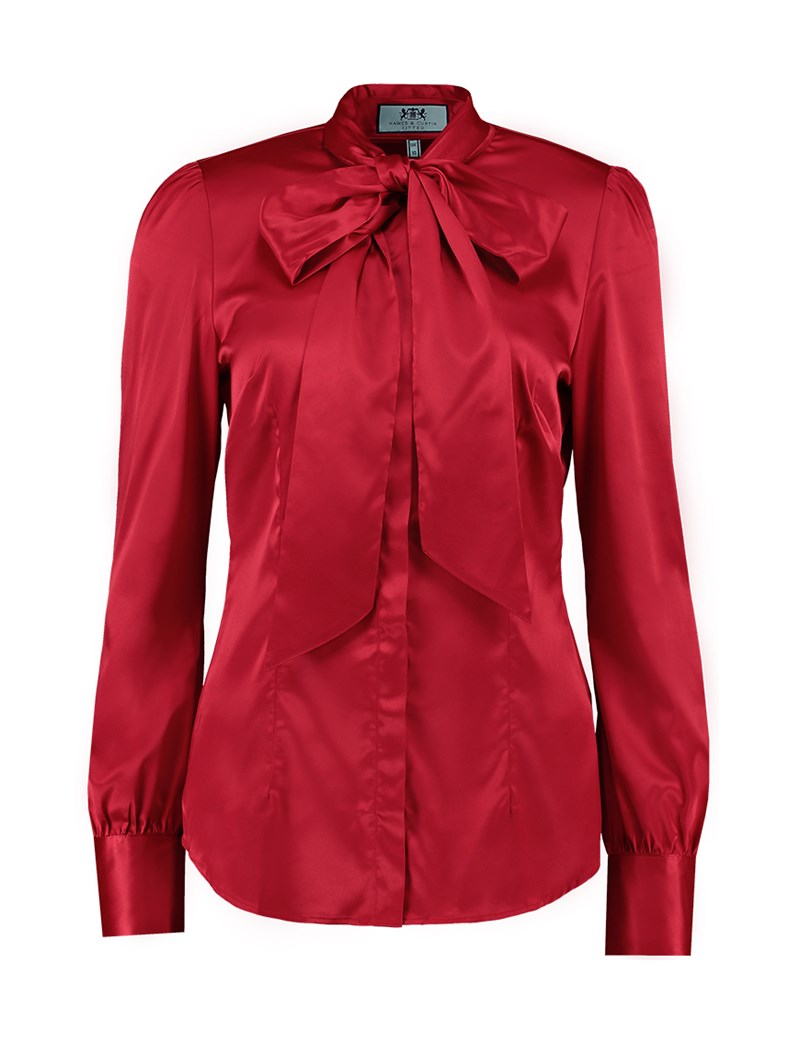 Red Blouse womenu0027s red fitted luxury satin blouse - pussy bow TJXEDWV
