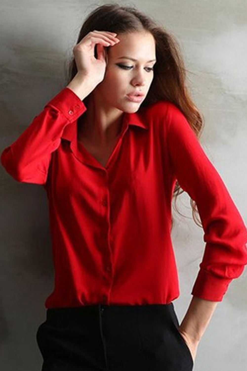 Red Blouse zoom images RJYRLXB