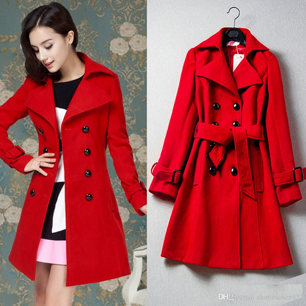 red coat new womenu0027s clothing casual fashion red jacket double breasted cashmere  wool coat for ladies ONAVUUI