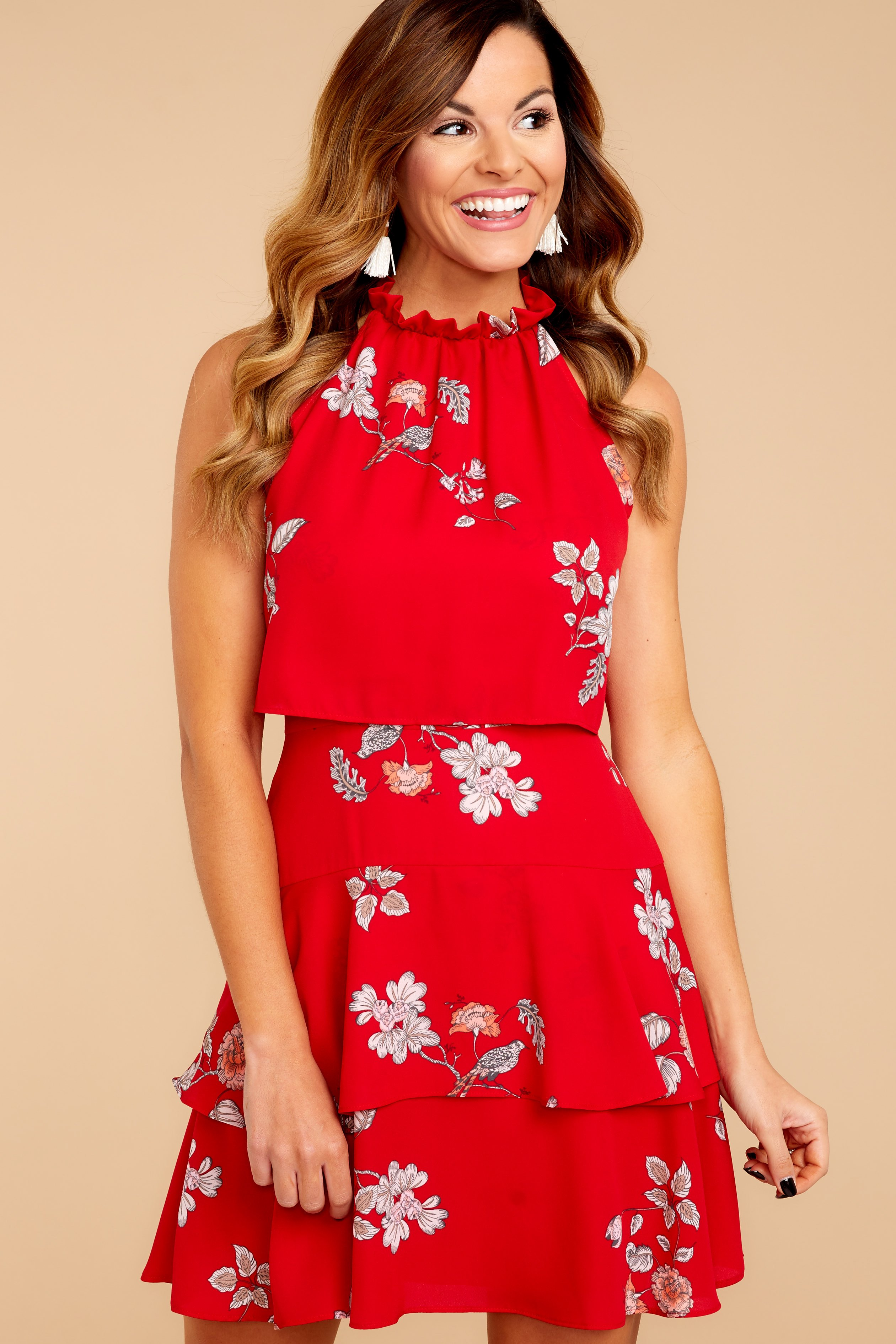 Red Dress bb dakota floral print dress - red dress - dress - $92.00 - red dress NHPMVWC