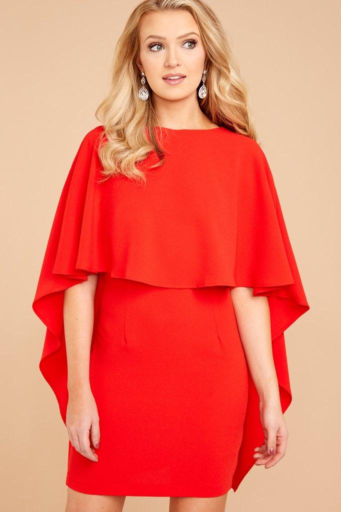 Red Dress cape dress - chic dress - stunning red dress - $49 - red dress boutique VYFMDOI
