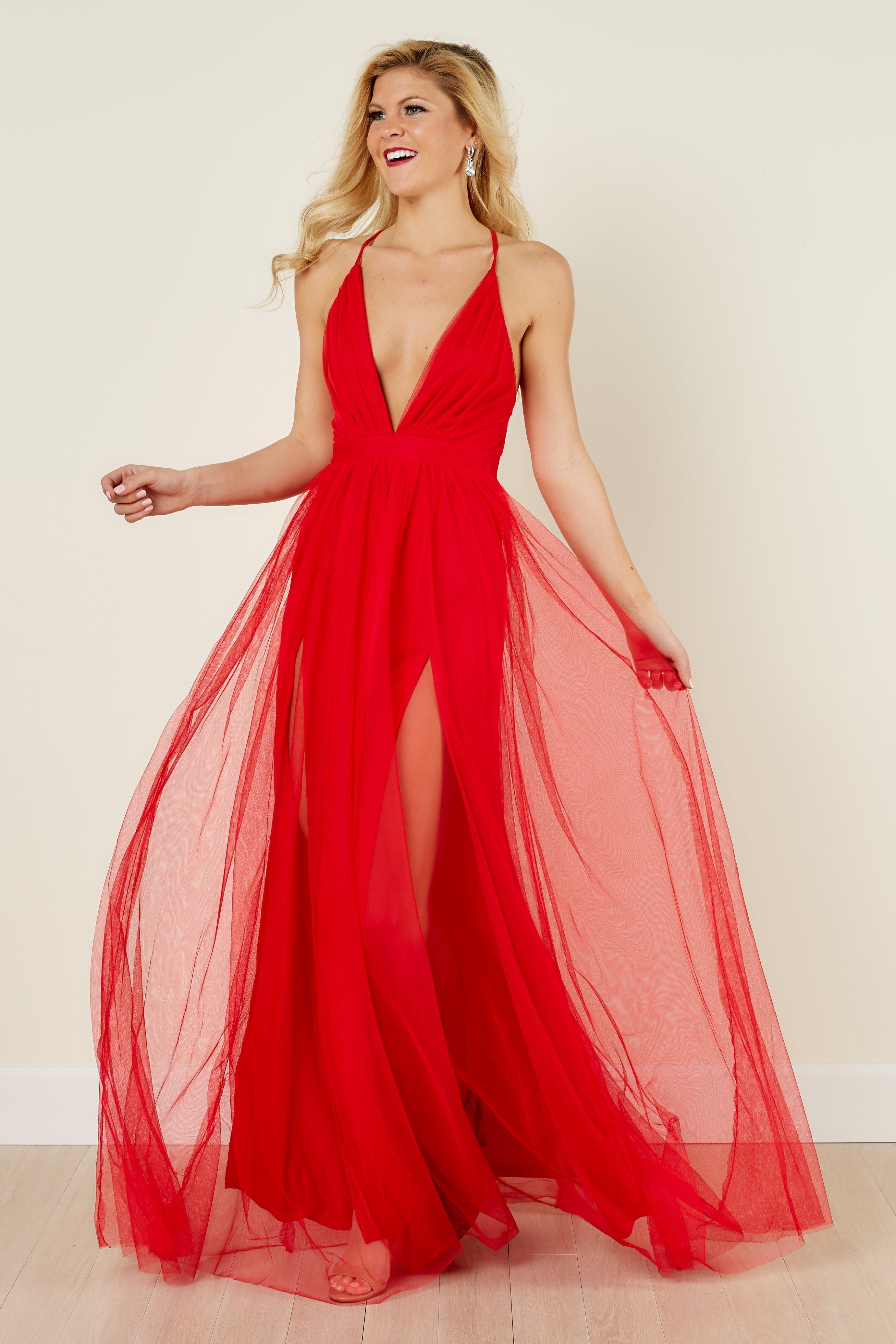 Red Dress elegant red dress - maxi dress - deep v neck dress - $54.00 - red MKYMTZI