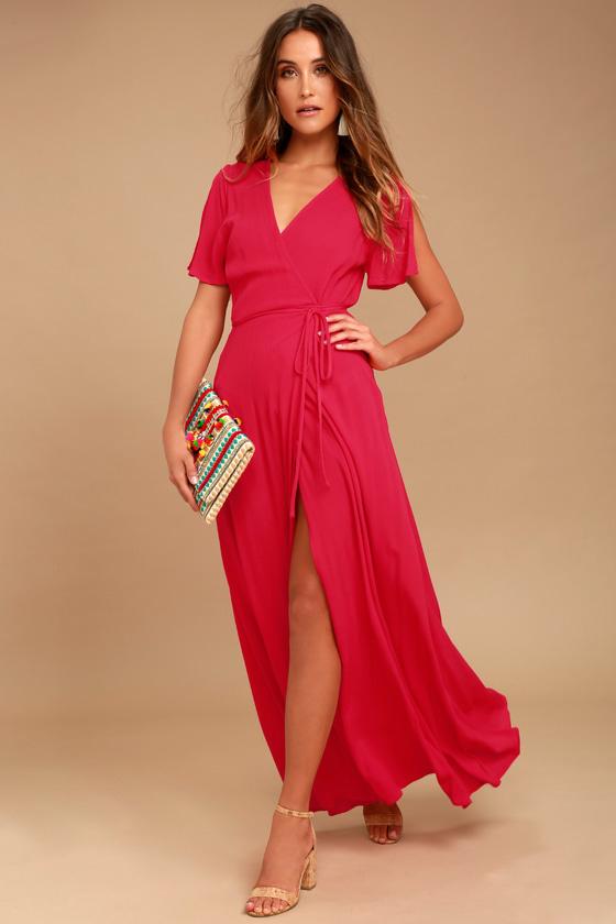 Red Dress much obliged red wrap maxi dress KLTGDES