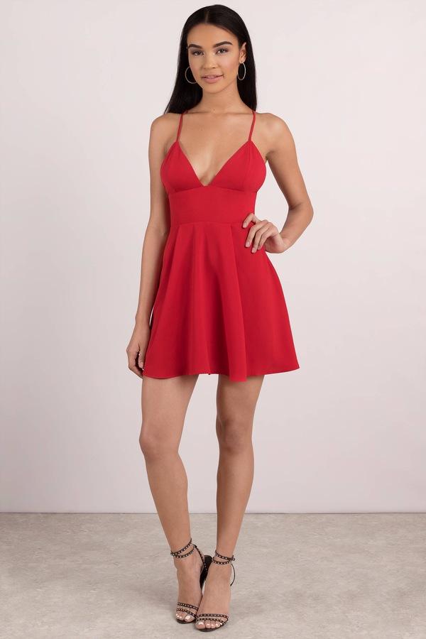 Red Dress strapped in love red skater dress ... GFUBJWJ