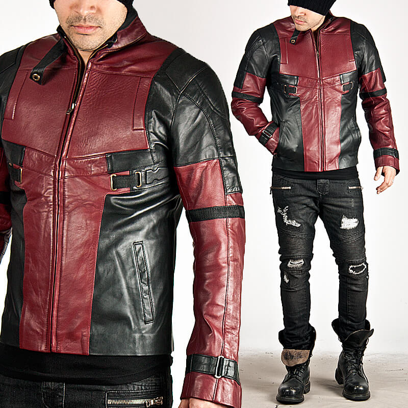 Red Leather Jacket black and red contrast futuristic slim leather jacket - 64 HCGOBMV