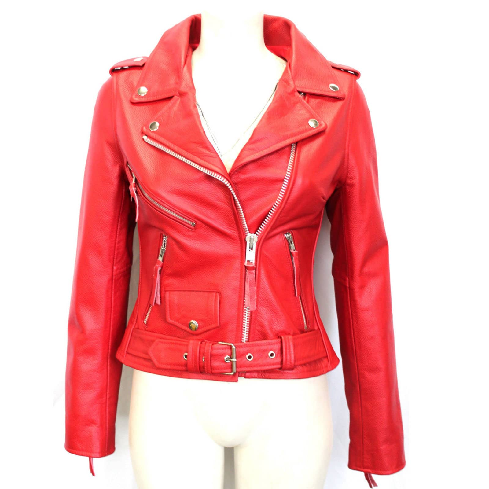 Red Leather Jacket brando biker style red leather jacket for women - custom made JWNEZOA